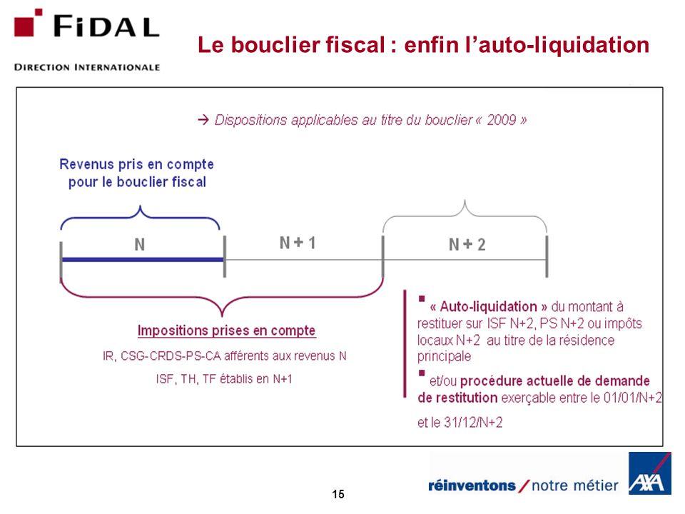 15 Le bouclier fiscal : enfin lauto-liquidation