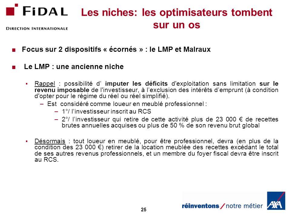 25 Les niches: les optimisateurs tombent sur un os Focus sur 2 dispositifs « écornés » : le LMP et Malraux Le LMP : une ancienne niche Rappel : possib