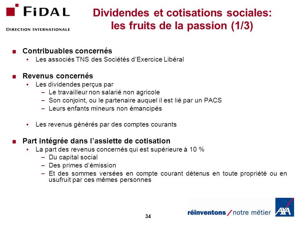 34 Dividendes et cotisations sociales: les fruits de la passion (1/3) Contribuables concernés Les associés TNS des Sociétés dExercice Libéral Revenus