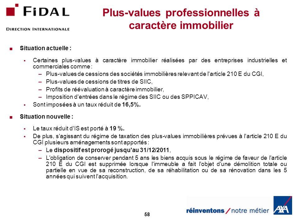 58 Plus-values professionnelles à caractère immobilier Situation actuelle : Certaines plus-values à caractère immobilier réalisées par des entreprises