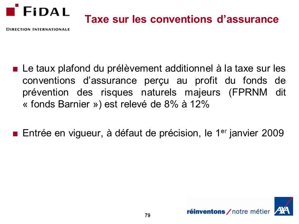 79 Taxe sur les conventions dassurance Le taux plafond du prélèvement additionnel à la taxe sur les conventions dassurance perçu au profit du fonds de prévention des risques naturels majeurs (FPRNM dit « fonds Barnier ») est relevé de 8% à 12% Entrée en vigueur, à défaut de précision, le 1 er janvier 2009