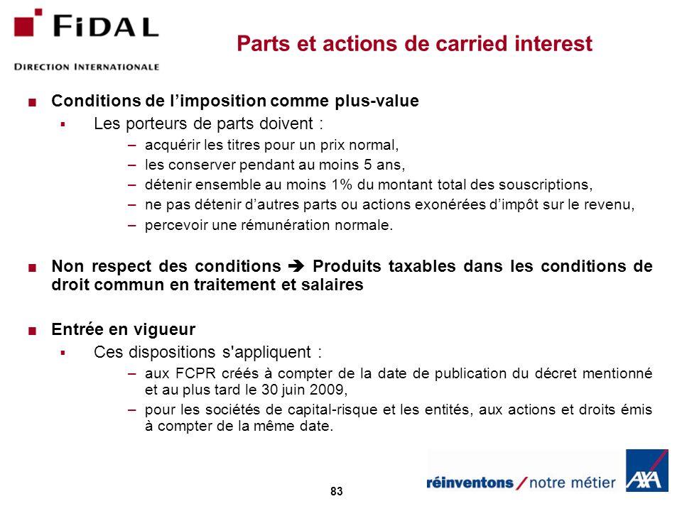 83 Parts et actions de carried interest Conditions de limposition comme plus-value Les porteurs de parts doivent : –acquérir les titres pour un prix n