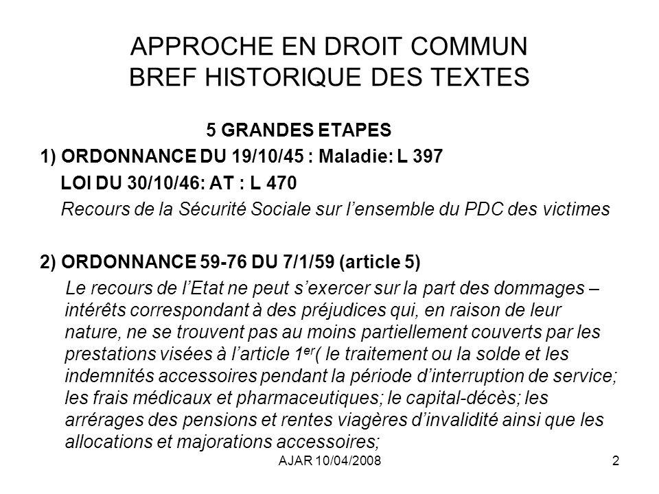AJAR 10/04/20082 APPROCHE EN DROIT COMMUN BREF HISTORIQUE DES TEXTES 5 GRANDES ETAPES 1) ORDONNANCE DU 19/10/45 : Maladie: L 397 LOI DU 30/10/46: AT : L 470 Recours de la Sécurité Sociale sur lensemble du PDC des victimes 2) ORDONNANCE 59-76 DU 7/1/59 (article 5) Le recours de lEtat ne peut sexercer sur la part des dommages – intérêts correspondant à des préjudices qui, en raison de leur nature, ne se trouvent pas au moins partiellement couverts par les prestations visées à larticle 1 er ( le traitement ou la solde et les indemnités accessoires pendant la période dinterruption de service; les frais médicaux et pharmaceutiques; le capital-décès; les arrérages des pensions et rentes viagères dinvalidité ainsi que les allocations et majorations accessoires;