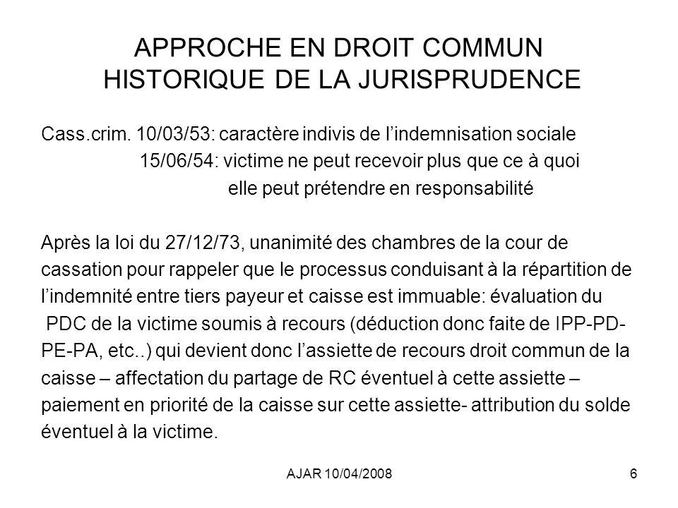AJAR 10/04/200817 APPROCHE EN DROIT COMMUN Jurisprudence depuis les avis rendus CASS.