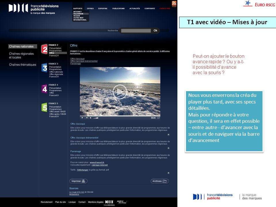 T1 avec vidéo – Mises à jour Peut-on ajouter le bouton avance rapide .