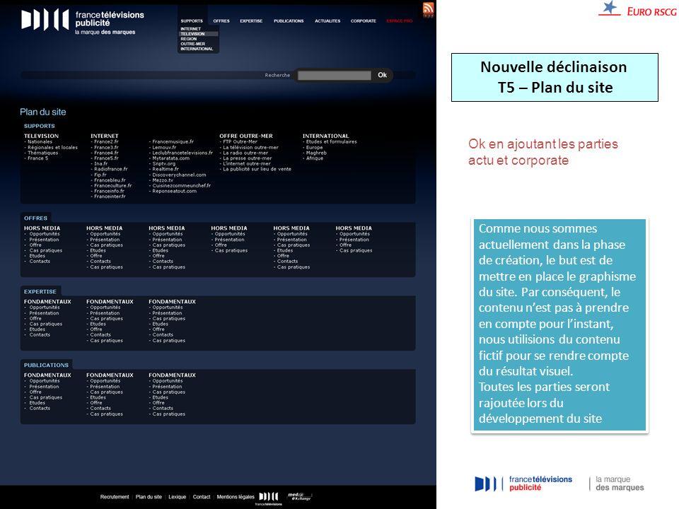 Nouvelle déclinaison T5 – Plan du site Ok en ajoutant les parties actu et corporate Comme nous sommes actuellement dans la phase de création, le but est de mettre en place le graphisme du site.