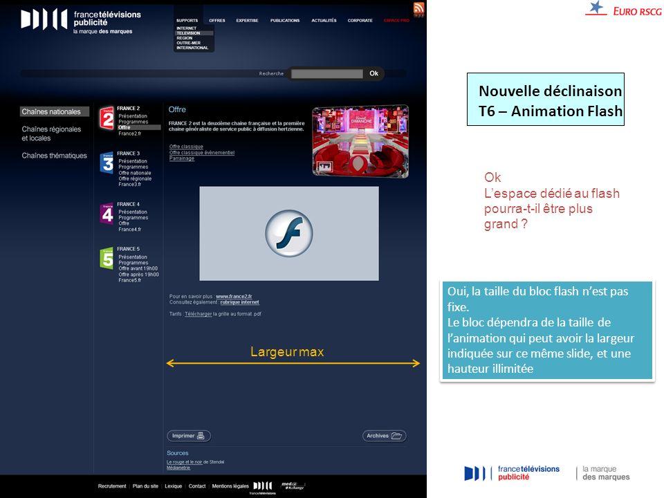 Nouvelle déclinaison T6 – Animation Flash Ok Lespace dédié au flash pourra-t-il être plus grand .