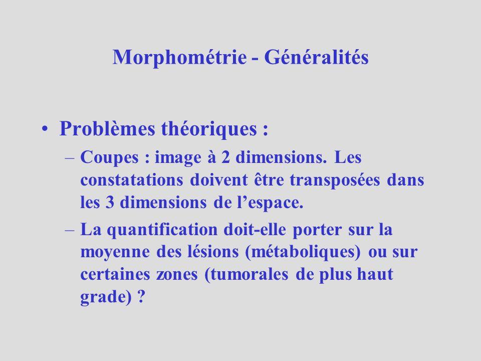 Morphométrie - Généralités Problèmes pratiques : –Comment quantifier .