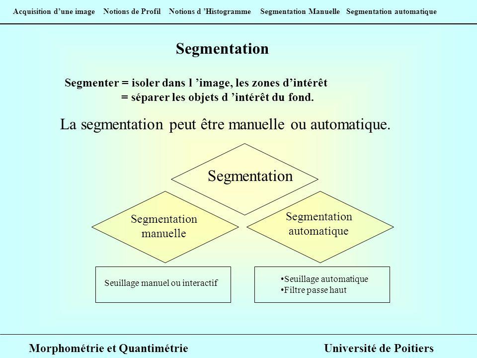 Acquisition dune image Notions de Profil Notions d Histogramme Segmentation Manuelle Segmentation automatique Segmentation Manuelle Avant de segmenter, il faut procéder à un seuillage : choisir les limites de niveaux entre lesquels les pixels devront être pris en compte.