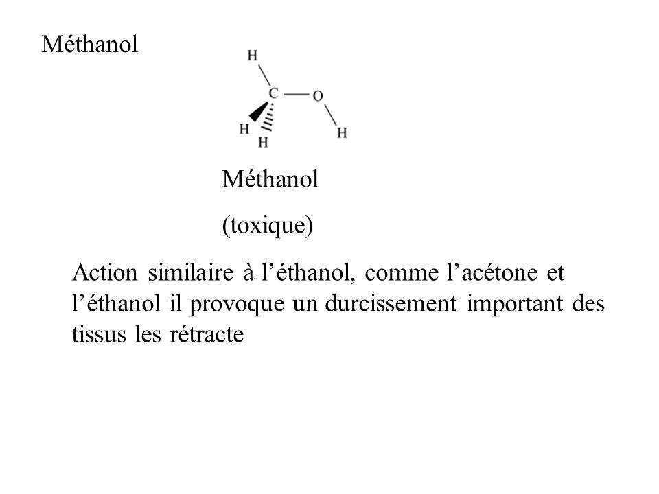 Méthanol (toxique) Méthanol Action similaire à léthanol, comme lacétone et léthanol il provoque un durcissement important des tissus les rétracte
