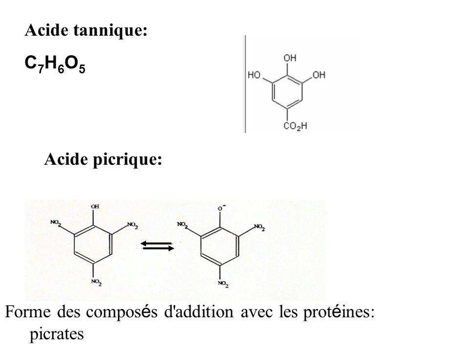 Acide tannique: C 7 H 6 O 5 Acide picrique: Forme des compos é s d'addition avec les prot é ines: les picrates