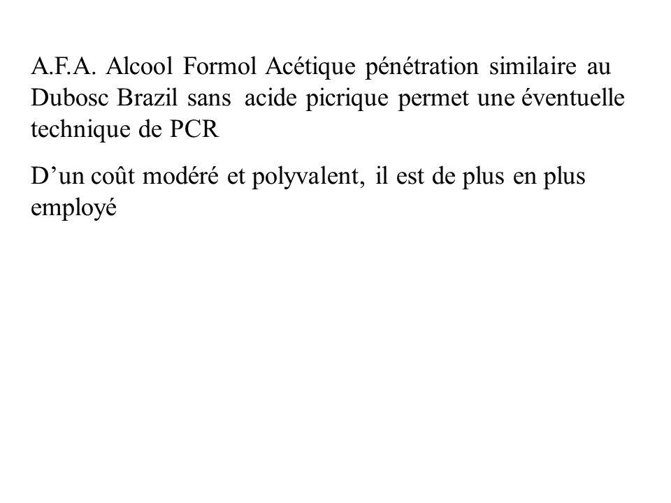 A.F.A. Alcool Formol Acétique pénétration similaire au Dubosc Brazil sans acide picrique permet une éventuelle technique de PCR Dun coût modéré et pol