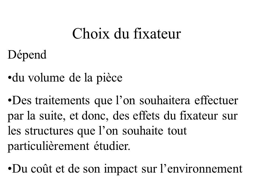 Choix du fixateur Dépend du volume de la pièce Des traitements que lon souhaitera effectuer par la suite, et donc, des effets du fixateur sur les stru