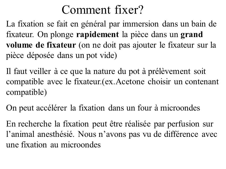 Comment fixer? La fixation se fait en général par immersion dans un bain de fixateur. On plonge rapidement la pièce dans un grand volume de fixateur (