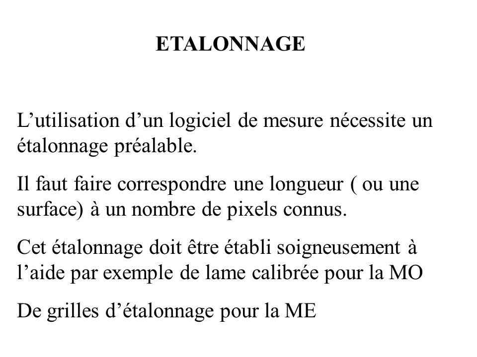 ETALONNAGE Lutilisation dun logiciel de mesure nécessite un étalonnage préalable. Il faut faire correspondre une longueur ( ou une surface) à un nombr