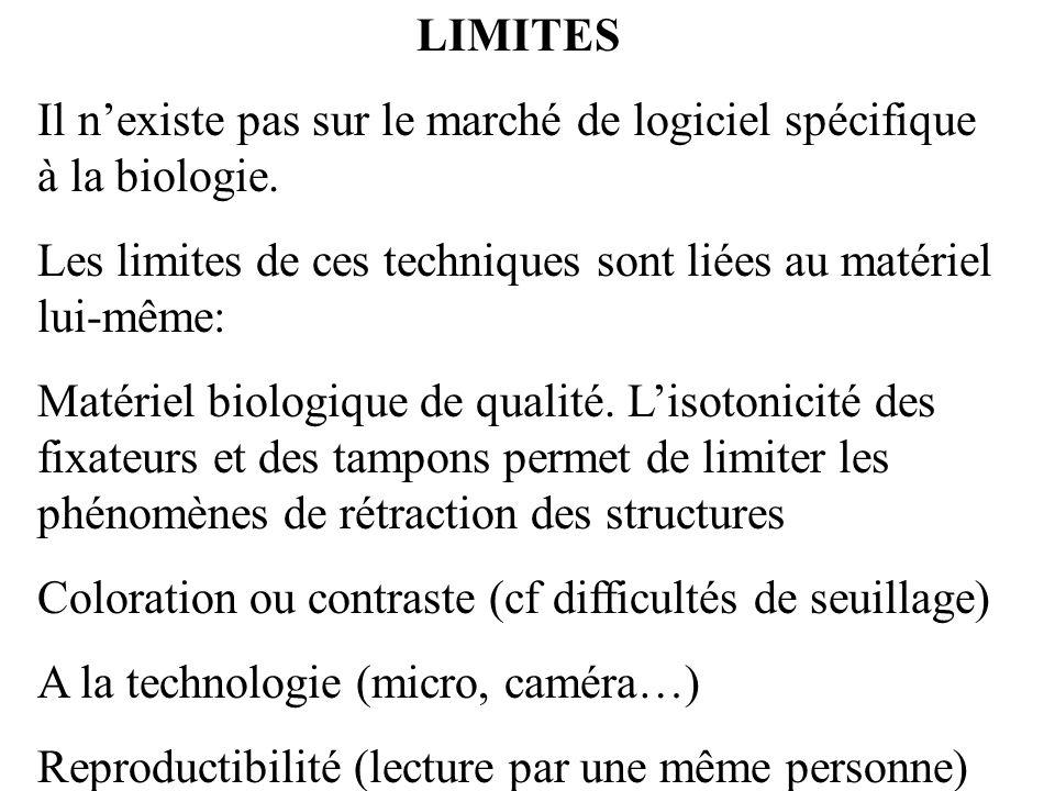 LIMITES Il nexiste pas sur le marché de logiciel spécifique à la biologie. Les limites de ces techniques sont liées au matériel lui-même: Matériel bio