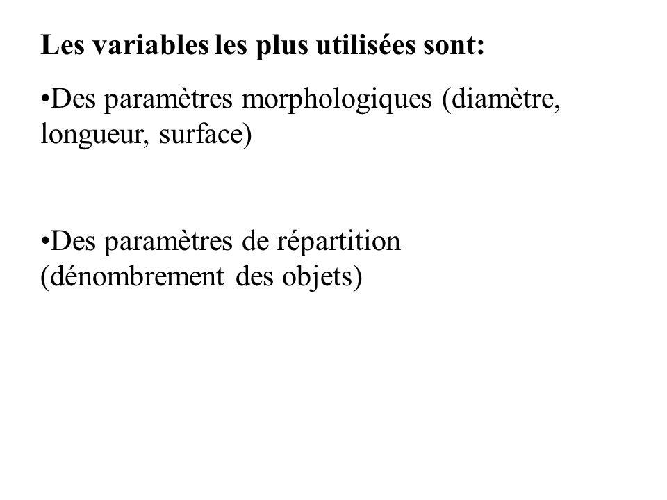 Les variables les plus utilisées sont: Des paramètres morphologiques (diamètre, longueur, surface) Des paramètres de répartition (dénombrement des obj