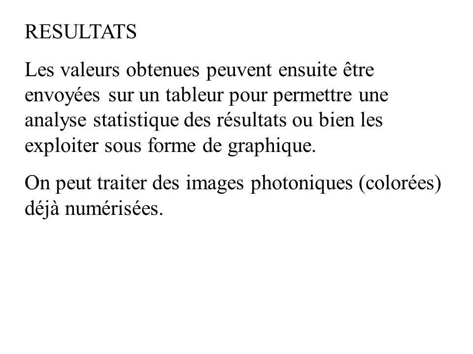 RESULTATS Les valeurs obtenues peuvent ensuite être envoyées sur un tableur pour permettre une analyse statistique des résultats ou bien les exploiter