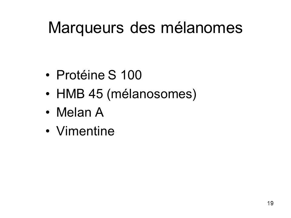 19 Marqueurs des mélanomes Protéine S 100 HMB 45 (mélanosomes) Melan A Vimentine