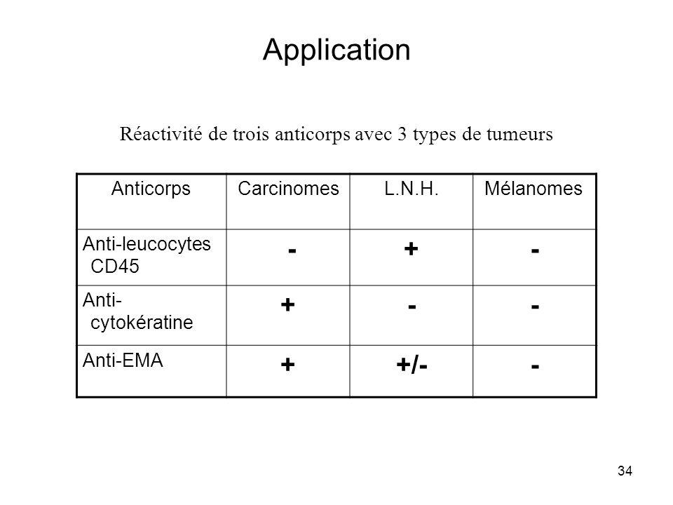 34 AnticorpsCarcinomesL.N.H.Mélanomes Anti-leucocytes CD45 -+- Anti- cytokératine +-- Anti-EMA ++/-- Réactivité de trois anticorps avec 3 types de tum