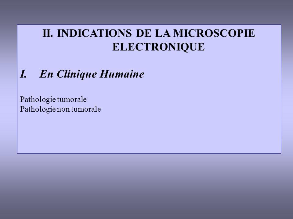 II. INDICATIONS DE LA MICROSCOPIE ELECTRONIQUE I.En Clinique Humaine Pathologie tumorale Pathologie non tumorale