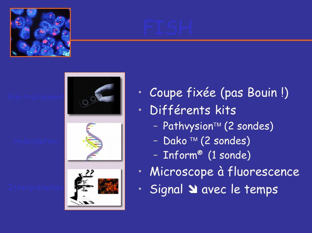 FISH Coupe fixée (pas Bouin !) Différents kits –Pathvysion (2 sondes) –Dako (2 sondes) –Inform ® (1 sonde) Microscope à fluorescence Signal avec le te