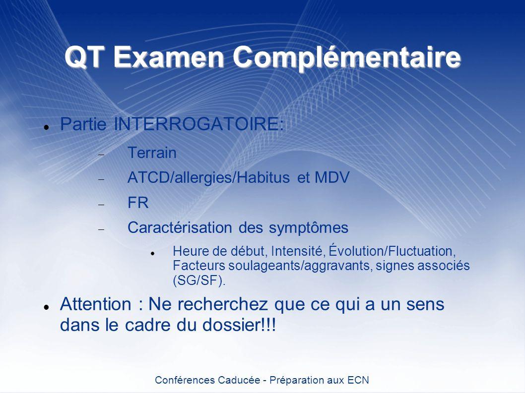 QT Examen Complémentaire Partie INTERROGATOIRE: Terrain ATCD/allergies/Habitus et MDV FR Caractérisation des symptômes Heure de début, Intensité, Évol