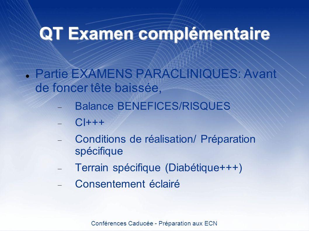 QT Examen complémentaire Partie EXAMENS PARACLINIQUES: Avant de foncer tête baissée, Balance BENEFICES/RISQUES CI+++ Conditions de réalisation/ Prépar