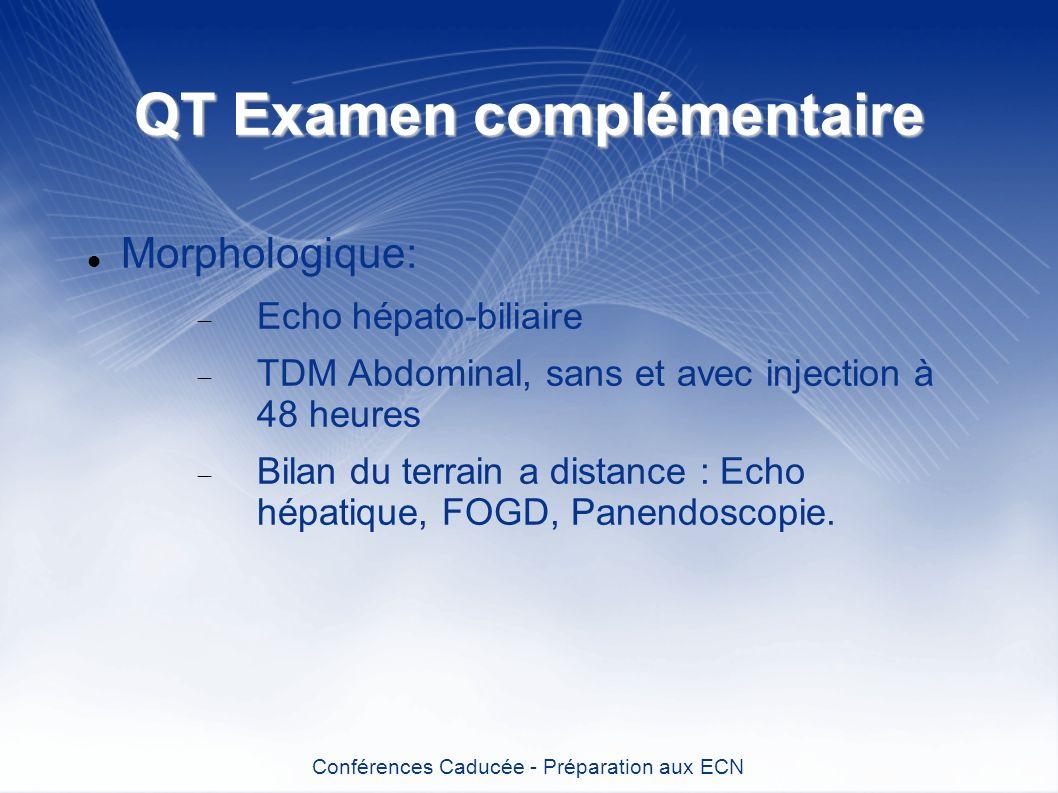QT Examen complémentaire Morphologique: Echo hépato-biliaire TDM Abdominal, sans et avec injection à 48 heures Bilan du terrain a distance : Echo hépa