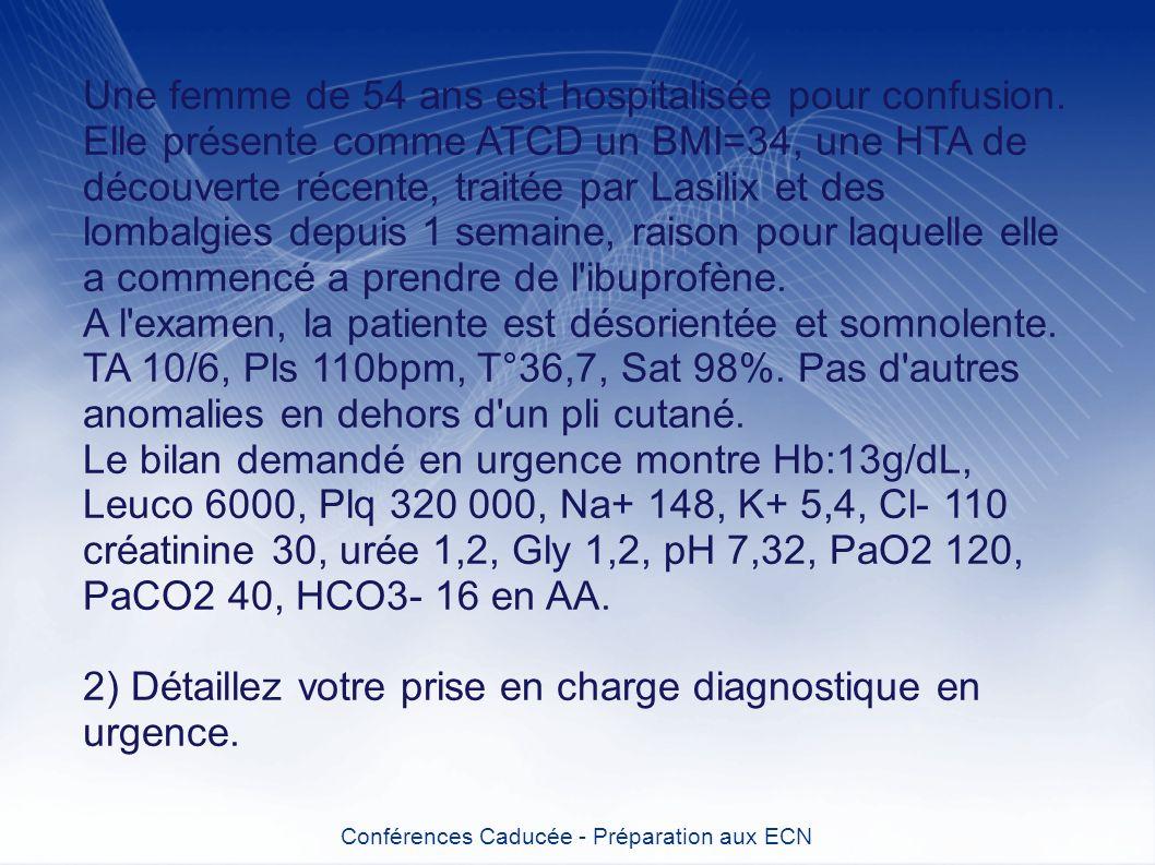 Une femme de 54 ans est hospitalisée pour confusion. Elle présente comme ATCD un BMI=34, une HTA de découverte récente, traitée par Lasilix et des lom