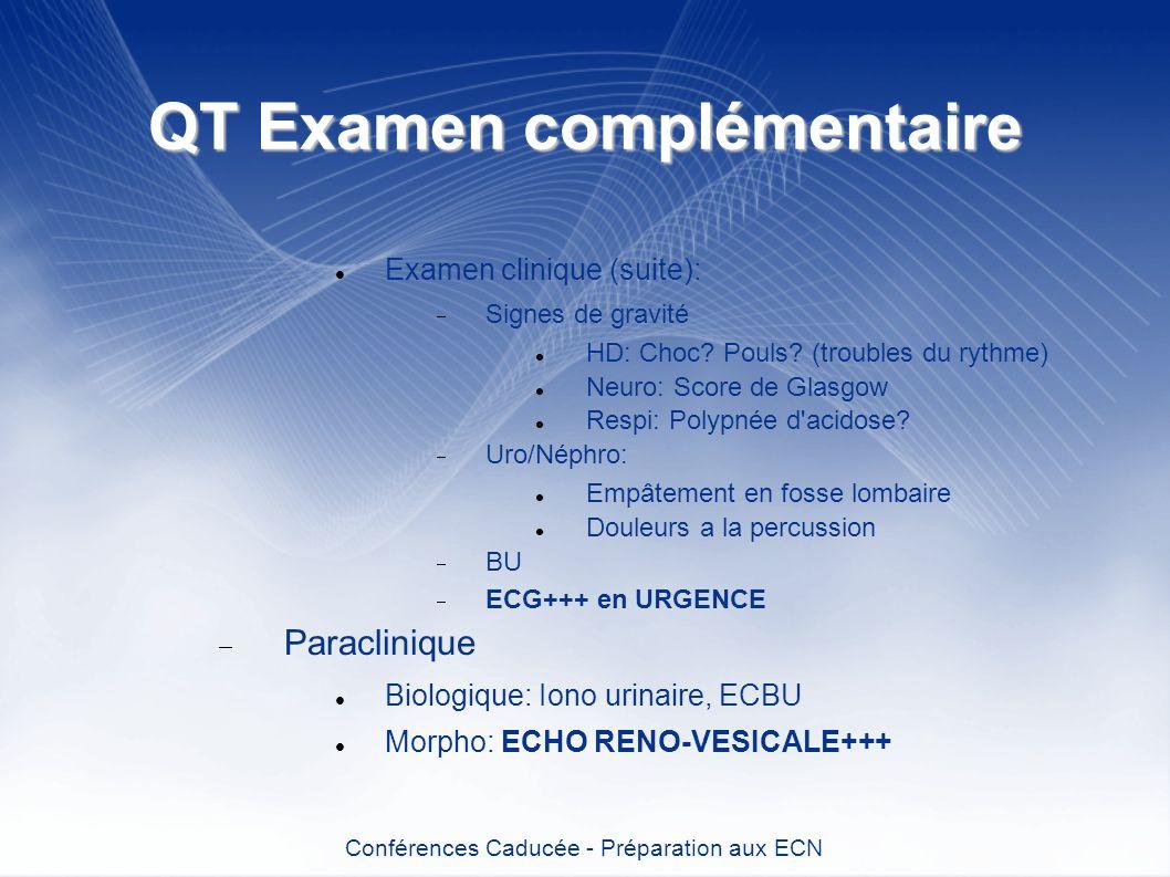 QT Examen complémentaire Examen clinique (suite): Signes de gravité HD: Choc? Pouls? (troubles du rythme) Neuro: Score de Glasgow Respi: Polypnée d'ac
