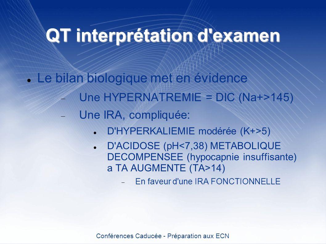 QT interprétation d'examen Le bilan biologique met en évidence Une HYPERNATREMIE = DIC (Na+>145) Une IRA, compliquée: D'HYPERKALIEMIE modérée (K+>5) D