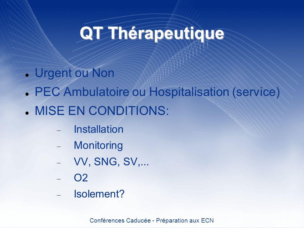 QT Thérapeutique Urgent ou Non PEC Ambulatoire ou Hospitalisation (service) MISE EN CONDITIONS: Installation Monitoring VV, SNG, SV,... O2 Isolement?