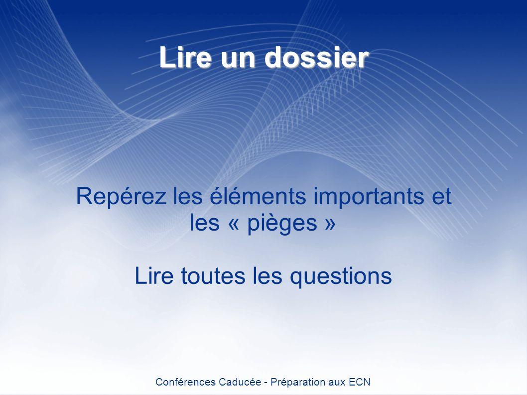 Lire un dossier Repérez les éléments importants et les « pièges » Lire toutes les questions Conférences Caducée - Préparation aux ECN