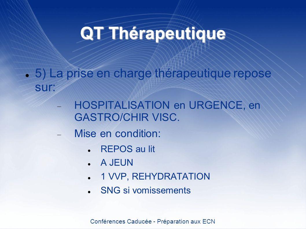 QT Thérapeutique 5) La prise en charge thérapeutique repose sur: HOSPITALISATION en URGENCE, en GASTRO/CHIR VISC. Mise en condition: REPOS au lit A JE