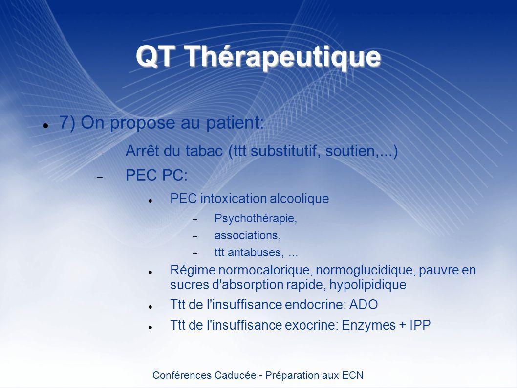 QT Thérapeutique 7) On propose au patient: Arrêt du tabac (ttt substitutif, soutien,...) PEC PC: PEC intoxication alcoolique Psychothérapie, associati