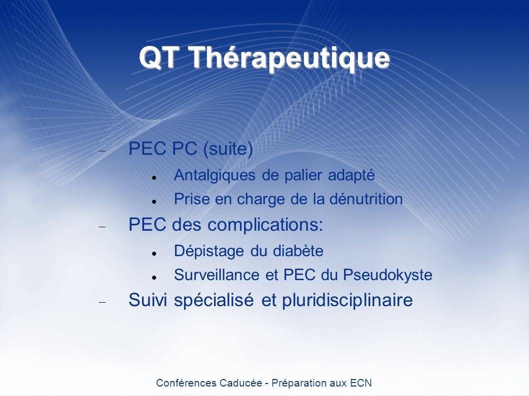 QT Thérapeutique PEC PC (suite) Antalgiques de palier adapté Prise en charge de la dénutrition PEC des complications: Dépistage du diabète Surveillanc