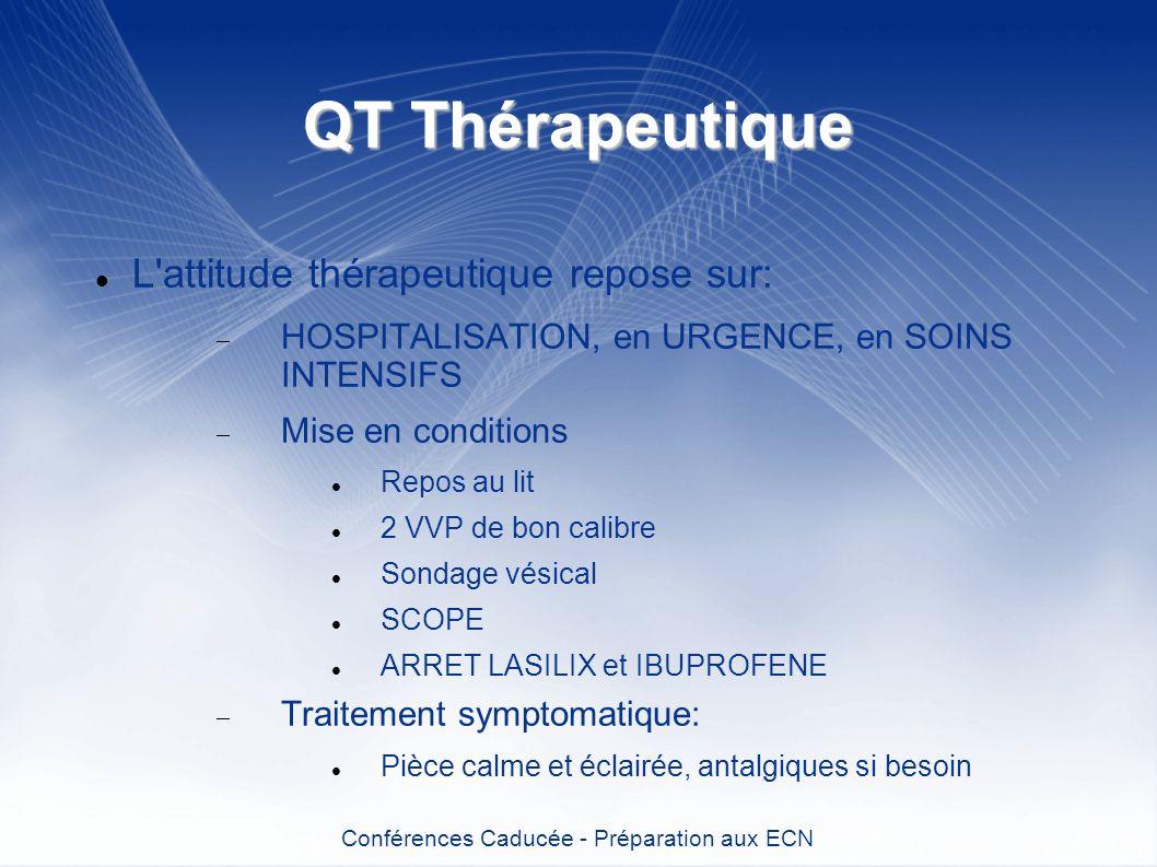 QT Thérapeutique L'attitude thérapeutique repose sur: HOSPITALISATION, en URGENCE, en SOINS INTENSIFS Mise en conditions Repos au lit 2 VVP de bon cal
