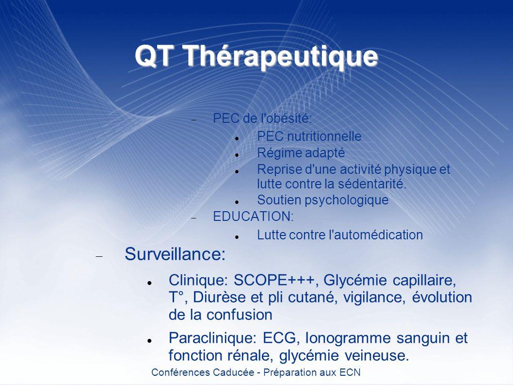 QT Thérapeutique PEC de l'obésité: PEC nutritionnelle Régime adapté Reprise d'une activité physique et lutte contre la sédentarité. Soutien psychologi