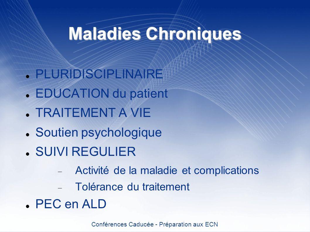 Maladies Chroniques PLURIDISCIPLINAIRE EDUCATION du patient TRAITEMENT A VIE Soutien psychologique SUIVI REGULIER Activité de la maladie et complicati