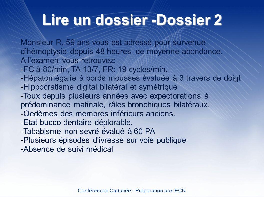 Lire un dossier -Dossier 2 Conférences Caducée - Préparation aux ECN Monsieur R, 59 ans vous est adressé pour survenue dhémoptysie depuis 48 heures, d