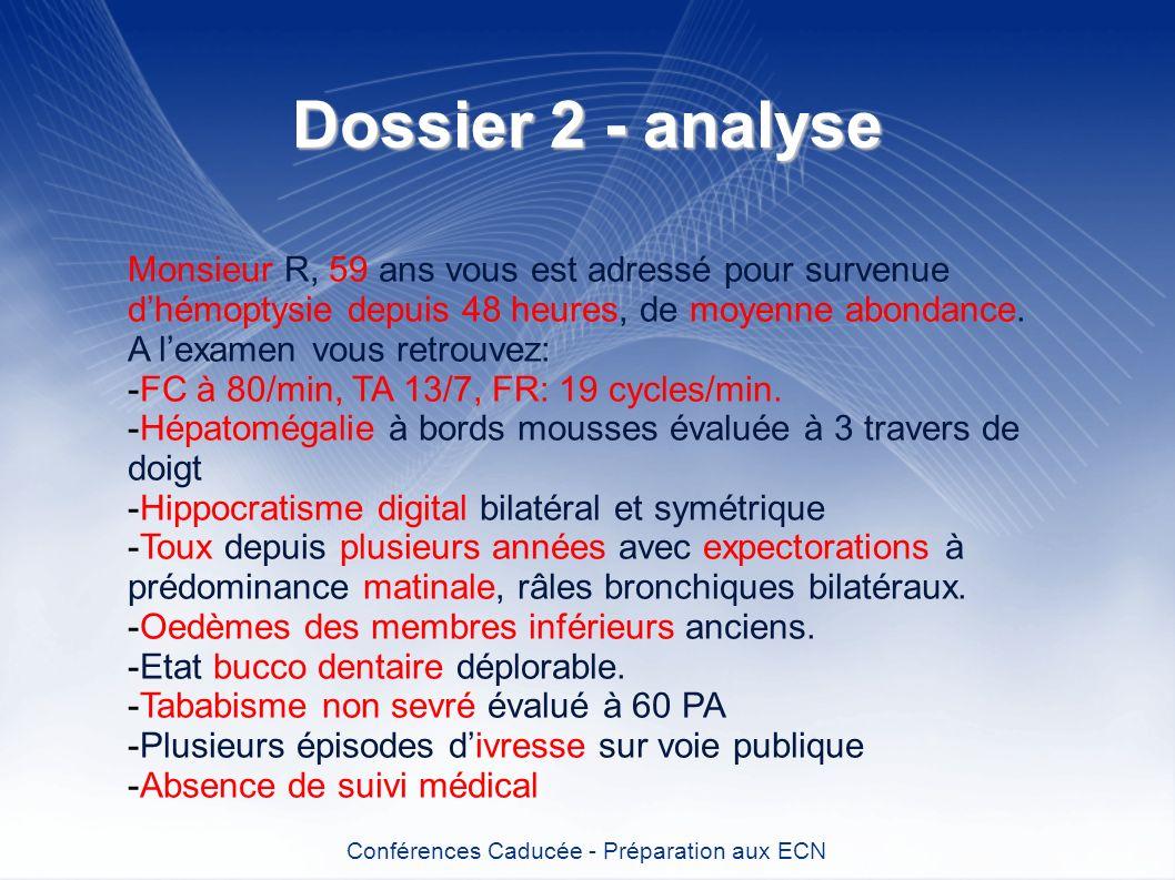 Dossier 2 - analyse Conférences Caducée - Préparation aux ECN Monsieur R, 59 ans vous est adressé pour survenue dhémoptysie depuis 48 heures, de moyen