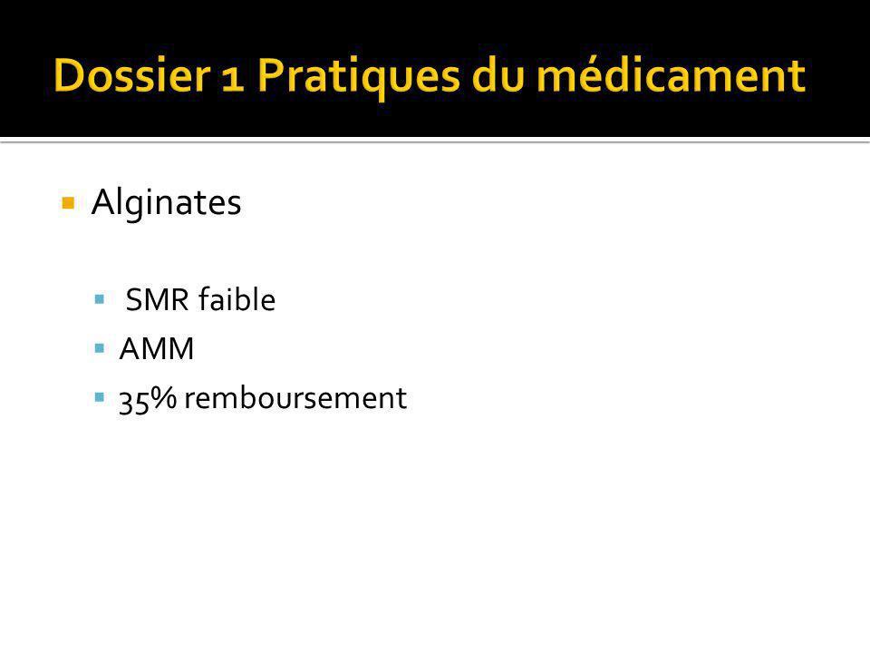 Alginates SMR faible AMM 35% remboursement