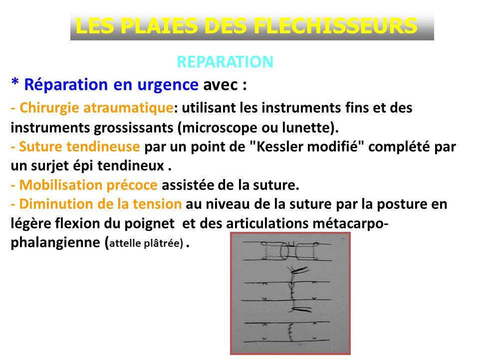 LES PLAIES DES FLECHISSEURS REPARATION * Réparation en urgence avec : - Chirurgie atraumatique: utilisant les instruments fins et des instruments gros