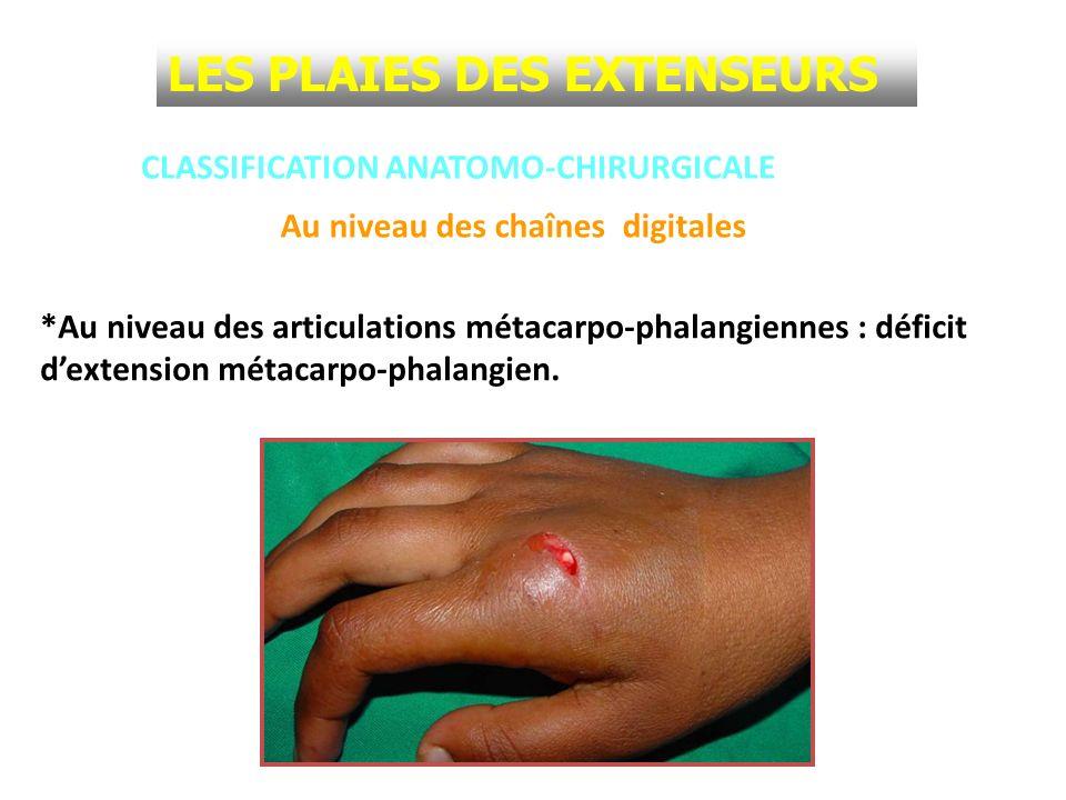 CLASSIFICATION ANATOMO-CHIRURGICALE *Au niveau des articulations métacarpo-phalangiennes : déficit dextension métacarpo-phalangien. Au niveau des chaî