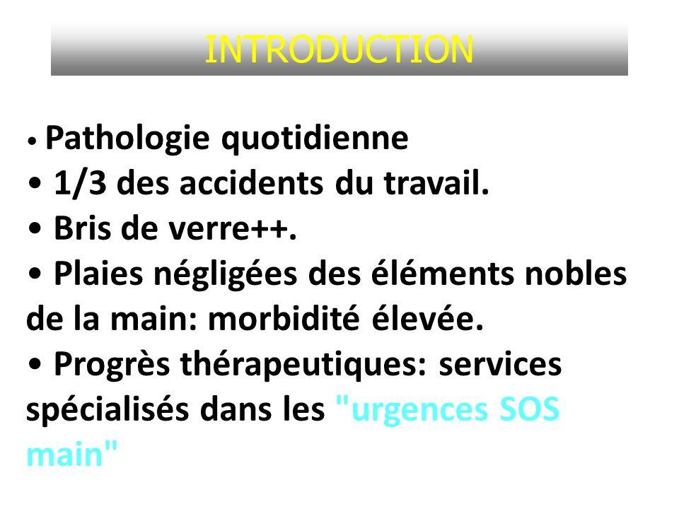 INTRODUCTION Pathologie quotidienne 1/3 des accidents du travail. Bris de verre++. Plaies négligées des éléments nobles de la main: morbidité élevée.