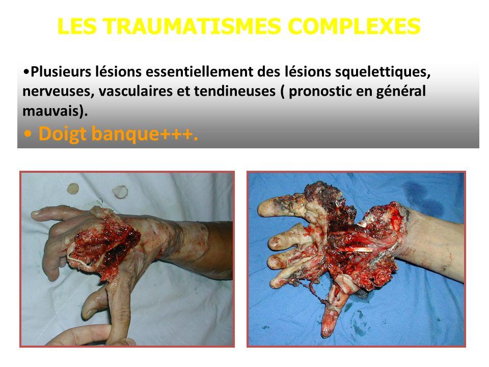 LES TRAUMATISMES COMPLEXES Plusieurs lésions essentiellement des lésions squelettiques, nerveuses, vasculaires et tendineuses ( pronostic en général m