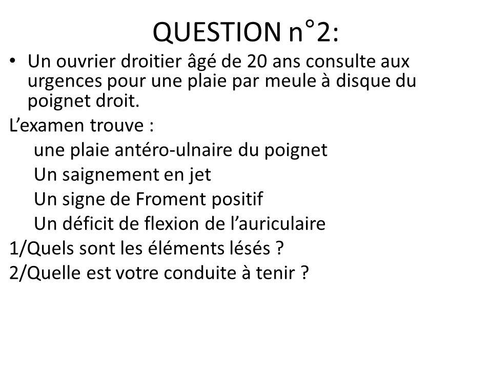 QUESTION n°2: Un ouvrier droitier âgé de 20 ans consulte aux urgences pour une plaie par meule à disque du poignet droit. Lexamen trouve : une plaie a