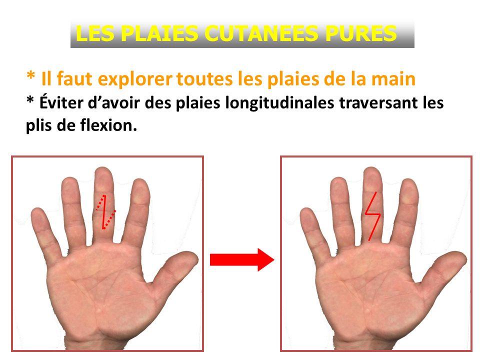 LES PLAIES CUTANEES PURES * Trois types de plaies : - Plaies nettes: à suturer après parage et exploration chirurgicale.