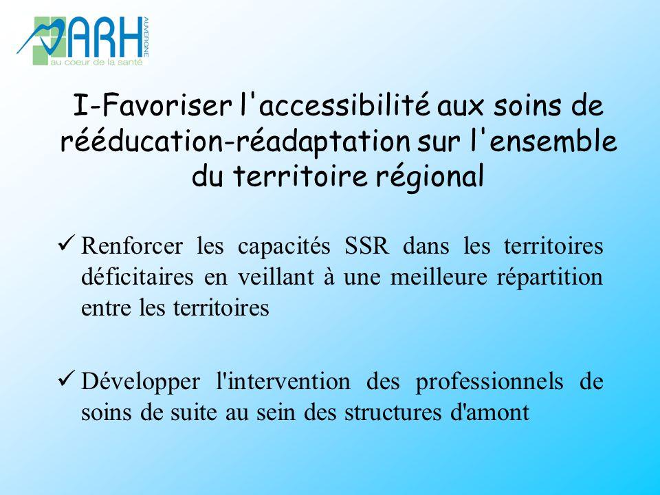 I-Favoriser l accessibilité aux soins de rééducation-réadaptation sur l ensemble du territoire régional Renforcer les capacités SSR dans les territoires déficitaires en veillant à une meilleure répartition entre les territoires Développer l intervention des professionnels de soins de suite au sein des structures d amont